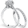 Coast Thin Round Cut Halo Diamond Wedding Ring Set