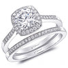 Coast Cushion Halo Thin Milgrain Diamond Wedding Ring Set