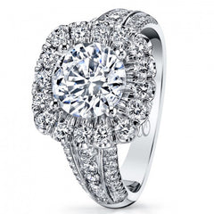 Coast Cushion Halo 14K White Gold Prong Set Diamond Engagement Ring