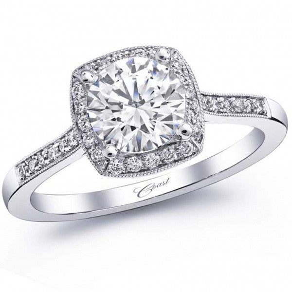 Coast Cushion Halo Thin Milgrain Diamond Engagement Ring