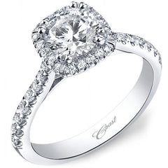 Coast Cushion Halo Prong Set Diamond Engagement Ring