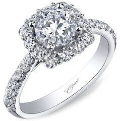 Coast Cushion Shaped Large Diamond Halo Engagement Ring