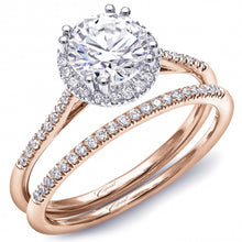 Load image into Gallery viewer, Coast Rose Gold Round Halo Thin Shank Diamond Engagement Ring