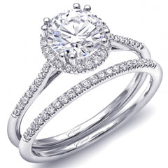 Coast Round Halo Prong Set Thin Shank Diamond Engagement Ring in 14K White Gold Featuring 0.14 Carats of Round Cut Diamonds.