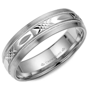 CrownRing 6MM White Gold Patterned Wedding Band