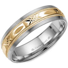 Load image into Gallery viewer, CrownRing White witt Yellow Gold Center Carved Wedding Band_WB-7000