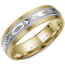 Load image into Gallery viewer, CrownRing 6MM Two-Tone Patterned Wedding Band