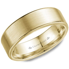CrownRing Yellow Gold 7MM Wide Brushed Center Wedding Band