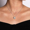 Gabriel Round Cultured Pearl Swirling Diamond Halo Pendant on Neck