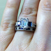 "Kirk Kara ""Charlotte"" 18K White Gold Blue Sapphire Diamond Three Stone Wedding Set On Hand"