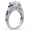 "Kirk Kara ""Charlotte"" 18K White Gold Blue Sapphire Diamond Three Stone Engagement Ring"