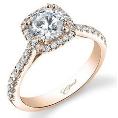 Coast Cushion Halo Rose Gold Diamond Engagement Ring with 0.35 Carat Prong Set Diamonds