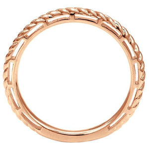 "Gabriel 14K Rose Gold ""Rope"" Texture Stackable Ring"