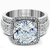 Simon G. Large Diamond Center Halo Prong Set Engagement Ring