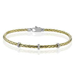 Simon G. Twisted 18K Yellow Gold Flexible Three Station Diamond Bangle