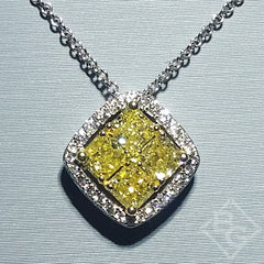 Simon G. Fancy Yellow Diamond Cluster Pendant