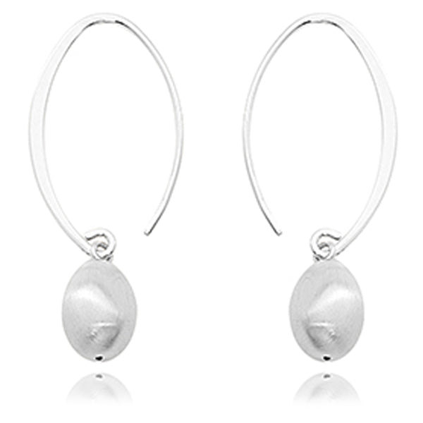 Ben Garelick Sterling Silver Oval Bead Drop Earring