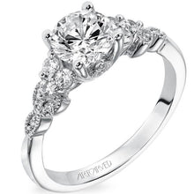 "Load image into Gallery viewer, Artcarved ""Adeline"" Diamond Engagement Ring Featuring Leaf Carved Detailing"