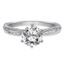 "Load image into Gallery viewer, Artcarved ""Elise"" Engraved Diamond Solitaire Six Prong Engagement Ring"