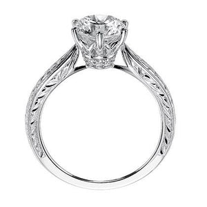 "Artcarved ""Elise"" Engraved Diamond Solitaire Six Prong Engagement Ring"