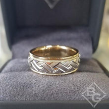 "Load image into Gallery viewer, Artcarved ""Intrigue"" Two Tone Crosshatch Wedding Band with Rolled Edges"
