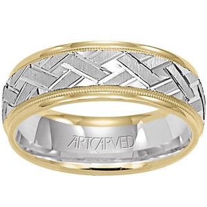 "Artcarved ""Intrigue"" Two Tone Crosshatch Wedding Band with Rolled Edges"