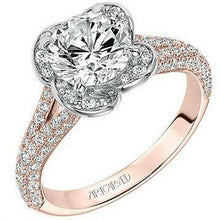 "Load image into Gallery viewer, Artcarved ""Katalina"" Flower Halo Pave Split Shank Diamond Engagement Ring"