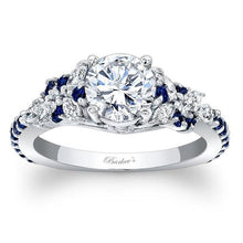 Load image into Gallery viewer, Barkev's Blue Sapphire Diamond Encrusted Petal Engagement Ring