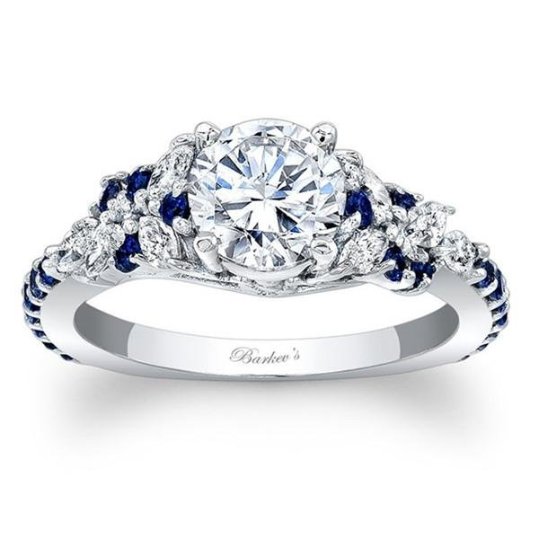 Barkev's Blue Sapphire Diamond Encrusted Petal Engagement Ring