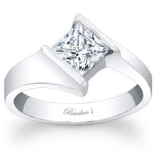 Load image into Gallery viewer, Barkev's Bypass Channel Set Solitaire Princess Cut Diamond Engagement Ring