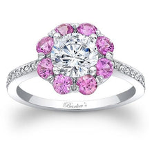 Load image into Gallery viewer, Barkev's Flower Halo Pink Sapphire Diamond Engagement Ring