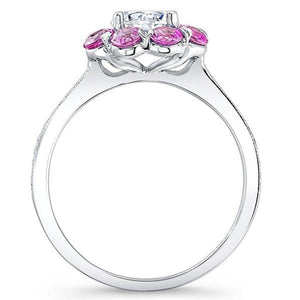 Barkev's Flower Halo Pink Sapphire Diamond Engagement Ring