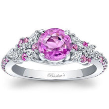 Load image into Gallery viewer, Barkev's Pink Sapphire Diamond Encrusted Petal Engagement Ring