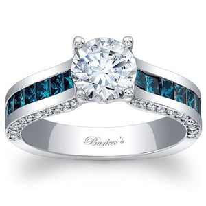 Barkev's Princess Cut Channel Set Blue Diamond Engagement Ring