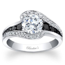 "Load image into Gallery viewer, Barkev's ""Swirl Halo"" Black Diamond Engagement Ring"