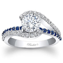 "Load image into Gallery viewer, Barkev's Swirl ""Whisper Halo"" Blue Sapphire Diamond Engagement Ring"