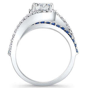 "Barkev's Swirl ""Whisper Halo"" Blue Sapphire Diamond Engagement Ring"
