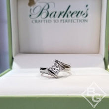Load image into Gallery viewer, Barkev's Tension Twist Half Bezel Set Princess-Cut Diamond Engagement Ring
