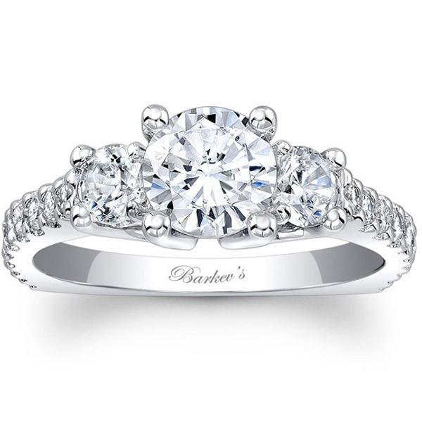 Barkev's Three Stone Diamond Engagement Ring with Side Diamonds