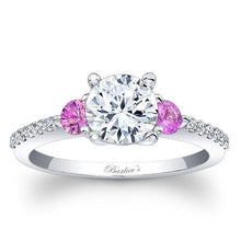 Load image into Gallery viewer, Barkev's Three Stone Pink Sapphire Diamond Engagement Ring