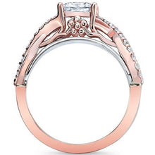 Load image into Gallery viewer, Barkev's Two Tone Princess Cut Criss Cross Diamond Engagement Ring