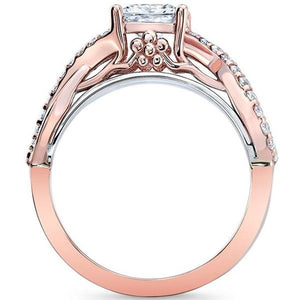 Barkev's Two Tone Princess Cut Criss Cross Diamond Engagement Ring