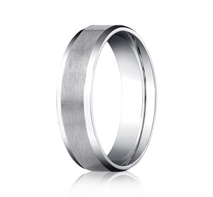 Benchmark 6 MM 10K White Gold Satin Finish Center Wedding Band