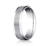 Benchmark 6 MM 10K White Gold Comfort Fit Carved Band With Satin Finish Center