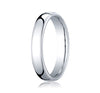 "Benchmark 10K White Gold 4.5 MM European Comfort Fit ""Flat Style"" Traditional Mens Wedding Band"