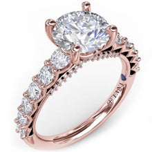 Load image into Gallery viewer, Fana Shared Prong Round Cut Diamond Engagement Ring with Large Center