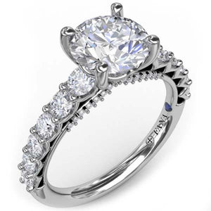 Fana Shared Prong Round Cut Diamond Engagement Ring with Large Center