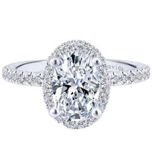Load image into Gallery viewer, Forever One Oval Cut Moissanite Halo Diamond Engagement Ring