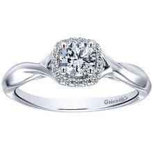 Load image into Gallery viewer, Gabriel 14K White Gold Pre-Set Diamond Cushion Halo Engagement Ring