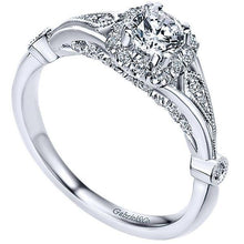 Load image into Gallery viewer, Gabriel 14K White Gold Pre-Set Diamond Vintage Style Cushion Halo Engagement Ring